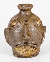 Very Rare Stoneware Face Jug, att. Miles Mill Pottery, Edgefield District, SC