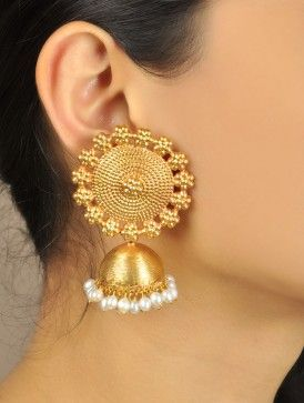 Floral Temple Golden Jhumka Earrings