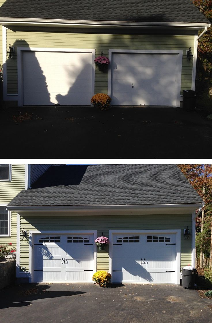 Before And After Of New @C.H.I. Overhead Doors Model 5916 Long Panel  Carriage House Style