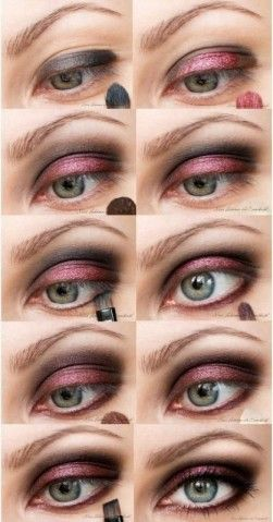 Cranberry evening eye makeup tutorial from www.snobka.pl I can make this the pink from my palette to match my dress.