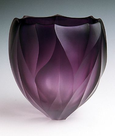 Purple Fire Bowl: Hand-blown and diamond-carved art glass | Artists: Jean Salatino & Steven Gandolfo of Salatino-Gandolfo Glass, Sonoma, CA | salatino-gandolfo.com