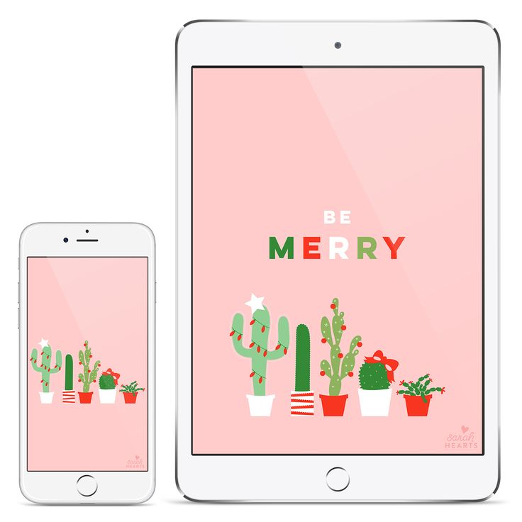 Deck your desktop, phone, and tablet with this festive holiday cactus wallpaper. Also available with a December 2017 calendar.