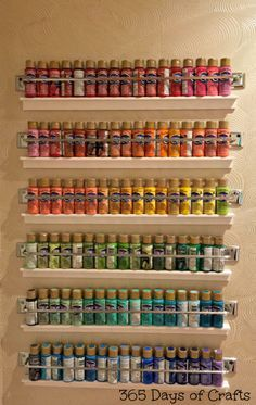 Take a look at this fun craft room tour by 365 Days of Crafts! This 6-tier paint storage is a thing of beauty!