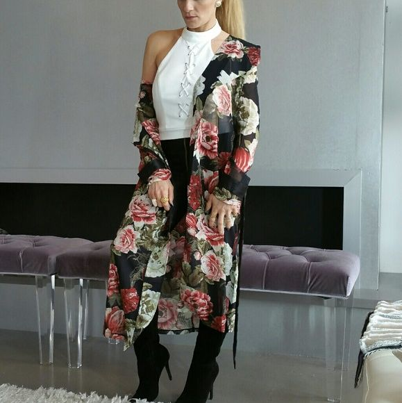 "2 LEFTJUST ARRIVED ""ROSE"" FLORAL DUSTER Brand new, Boutique item Price is firm  SEASON MUST HAVE!   Chic sheer black duster with lovely floral print, open front, satin belt included. Pair over your favorite top with jeans/leggings or over your favorite dress with heels.  100% polyester Multi colored     * Cover, kimono duster swimsuit coverup vacation picnic poolside beach cruise tropical popular     Tops"