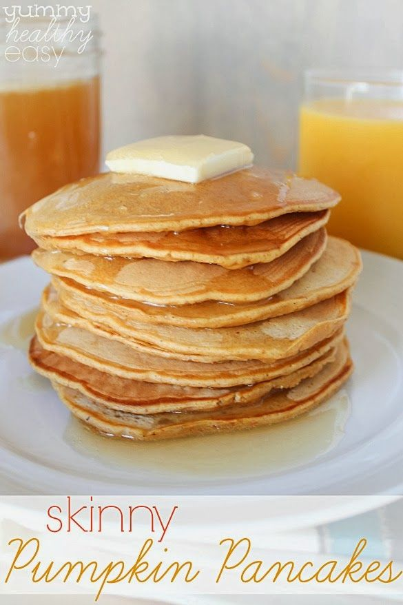 Delicious lighter and healthier pumpkin pancakes. Easy and so good!