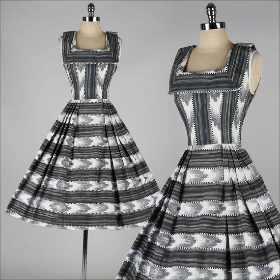 vintage 1950s dress . navajo print cotton sun dress . 3946