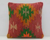 bohemian pillow couch pillow floral throw pillow red kilim pillow cover coral kilim pillow case decorative rug pillow 14421 kilim rug pillow