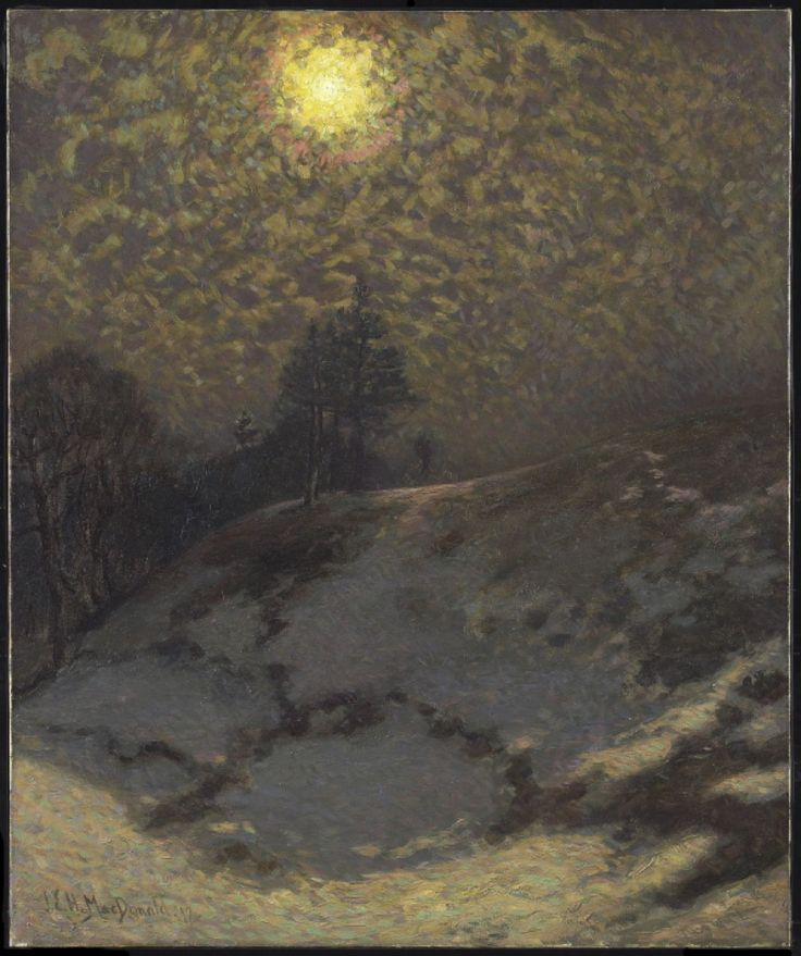 artgalleryofontario:  Early Evening, Winter, 1912J.E.H. MacDonald, Canadian, 1873 - 1932Oil on canvas, Overall: 83.8 x 71.1cm,Gift of the, Canadian National Exhibition Association, Toronto, 19652012 Art Gallery of Ontario
