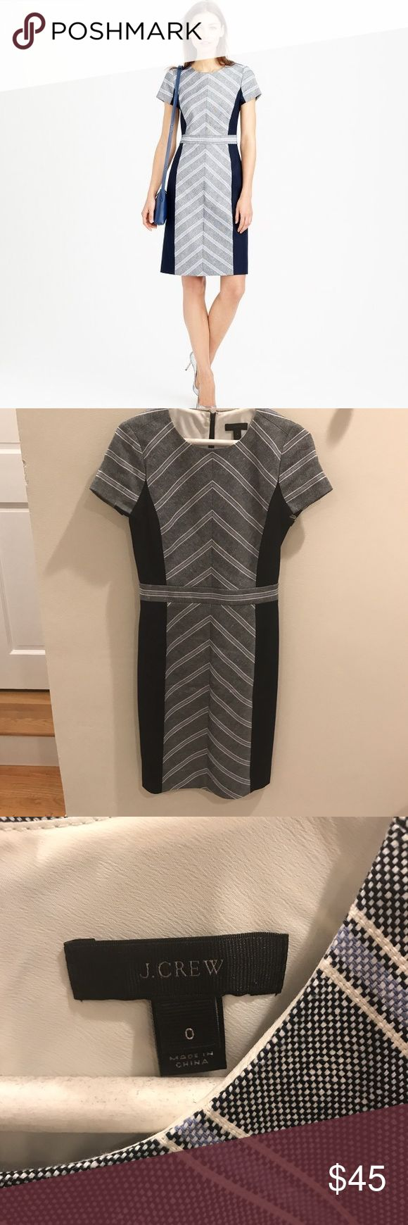 J. Crew navy chevron dress J. Crew navy color lock chevron dress in Italian tweed.  EUC no signs of wear. J. Crew Dresses