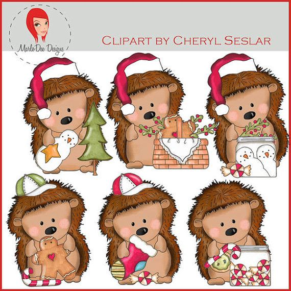 NEW Pepper the Hedgehog Christmas Time Clipart by by marlodeedesigns, $1.25