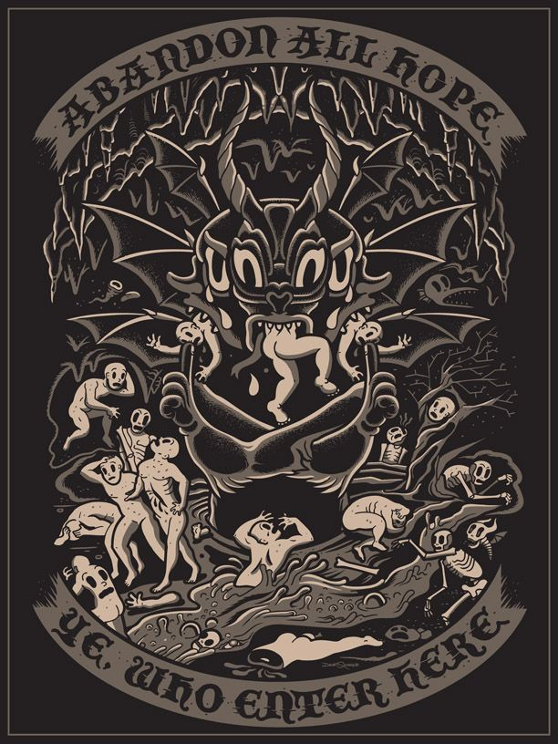 Dante's Inferno 18 x 24 Screen Print printed on black French Paper Signed  Hand numbered.  Limited to only 50.