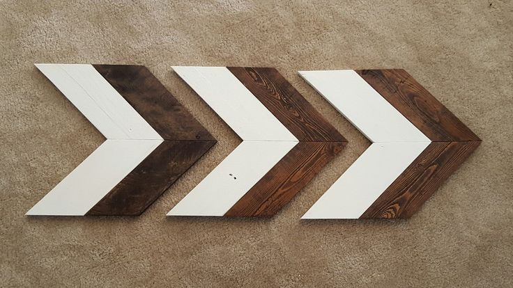 Set of 3 Small Wood Chevron Arrows, Wooden Arrow, Chevron Art, Reclaimed Pallet Wood, Painted Pallet Wood, Rustic Decor, Farmhouse Decor by RagdollAnnies on Etsy