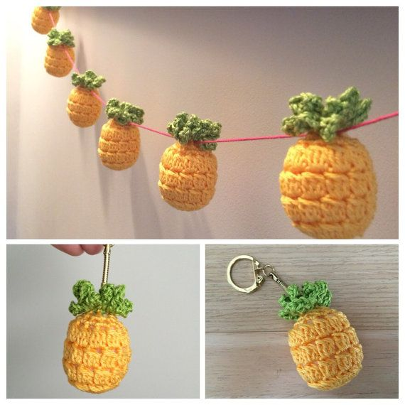 Pdf Pattern for Kitsch Crochet Pineapple Keyring and Crochet Pineapple Bunting / Garland