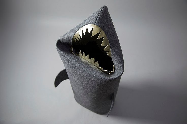 SHARK anthracite. Christmas gift, Felt laundry basket for bathroom or children's room as a basket for toys, shark with gold teeth by Uczarczyk on Etsy