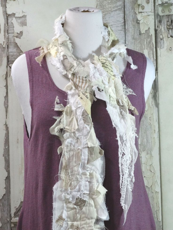Shabby Chic Upcycled Clothing Scarf Junk Gypsy Fairy Scarf