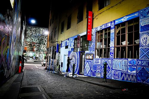 THIS is how laneways should be. (You Look Terrific Babe by Lucas Grogan, Movida Lane in Melbourne)