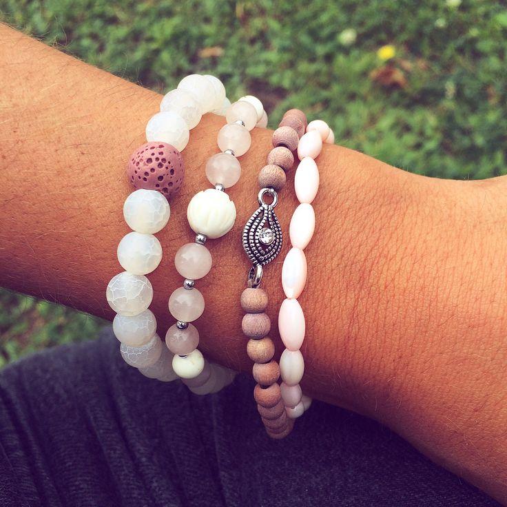 Bracelet stack. Sweet pink