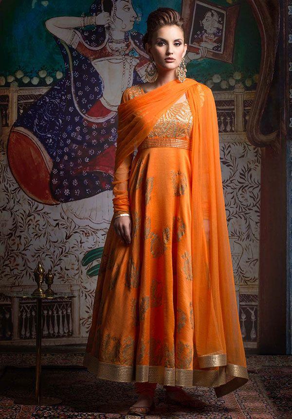 Orange Anarkali by Rohit Bal