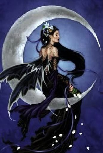 nyxgoddess of the night the dark crescent moon is a