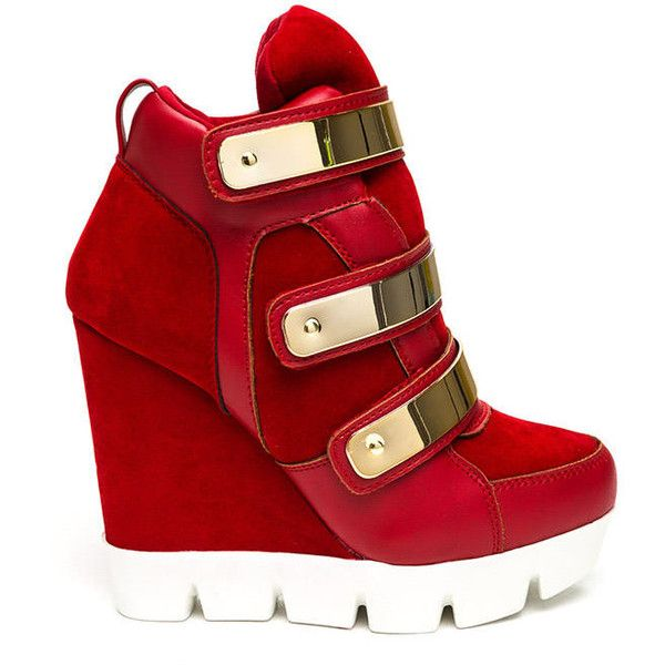 Space Ranger Sneaker Wedges RED (Final Sale) (£12) ❤ liked on Polyvore featuring shoes, sneakers, heels, red, vegan leather shoes, synthetic leather shoes, platform wedge shoes, red wedge heel shoes and faux leather shoes