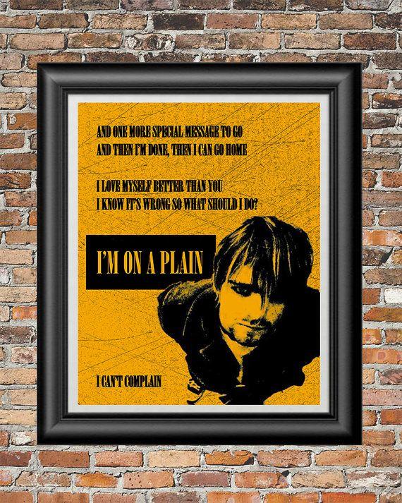 On a Plain by Nirvana printable wall art  by PrintableSongParts