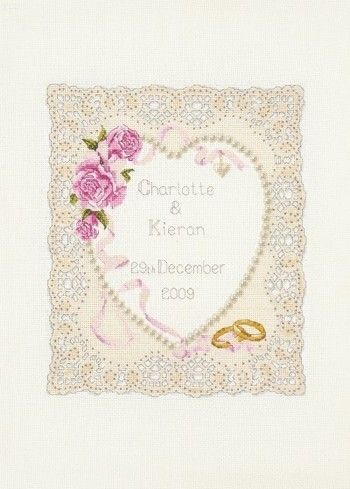 Floral Heart Wedding Sampler - Cross Stitch Kit: