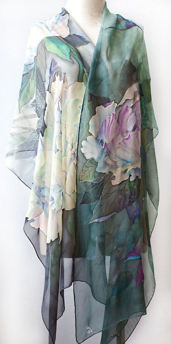 Natural Silk Shawl Hand Painted Silk Scarf White Peonies and Hummingbird Ready to Ship
