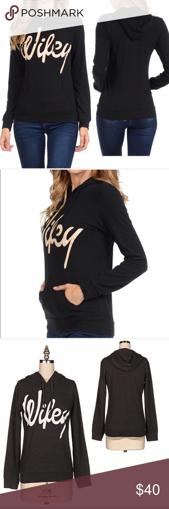 """Restock Wifey sweatshirt! Black Wifey Sweatshirt. Soft with a Comfortable fitting fit.  Material:63% Cotton 32% Polyester  5% Spandex Measurements Laying flat  S  - Bust 15"""" Length 22"""" M - Bust 18"""" Length 23.5"""" L  - Bust 19"""" Length 24.5"""" XL- Bust 20"""" Length 24.5""""                                              #bridal #wedding #gift #marriage #wife #ootd #fall #bonfire #camping #honeymoon #bridalshower #freeshipping #fiance #movie night Tops Sweatshirts & Hoodies"""