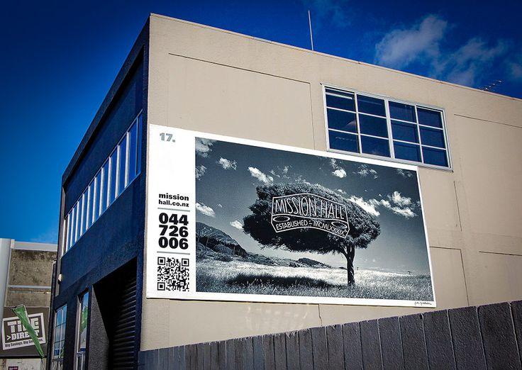 Billboard design – tree. Mission Hall Wellington New Zealand
