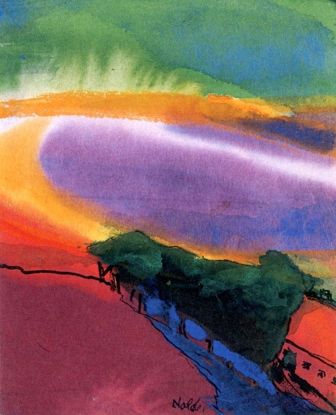 Yellow, red and green landscape / Emil Nolde