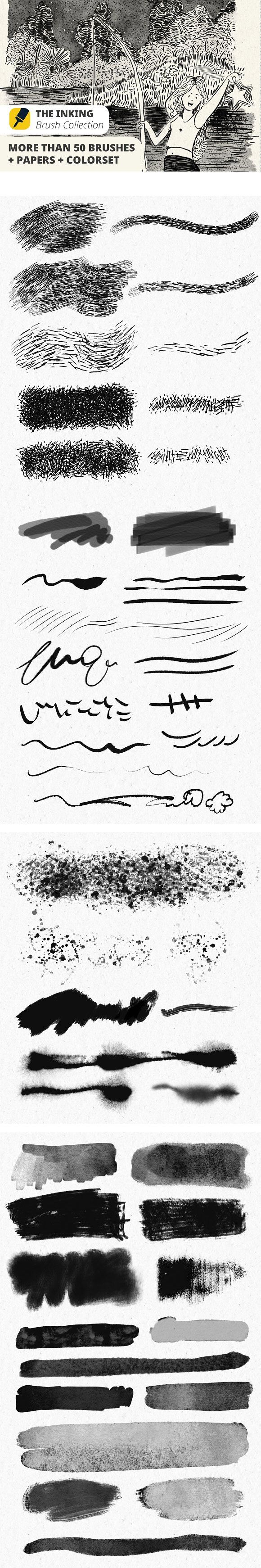 The Inking Collection #Brushes : This is a collection of brushes focused on digital inking. More than 50 different strokes including types of dry and wet brushes. Classic pen for drawing, #calligraphy and more. ( #artist #art #portrait #watercolor #photoshop #comic )