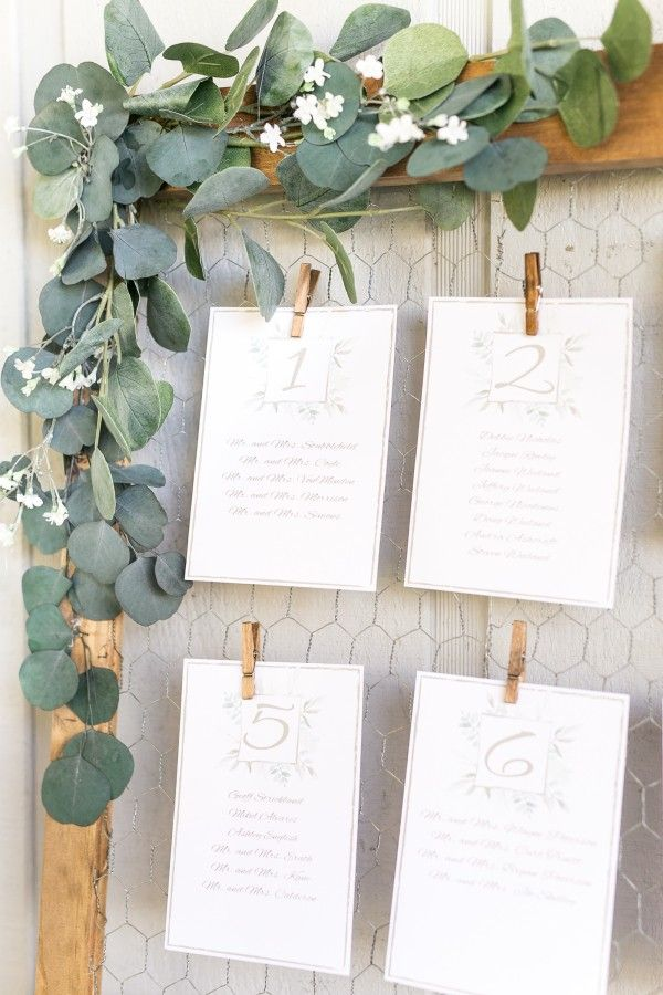greenery garden themed wedding escort cards display ideas