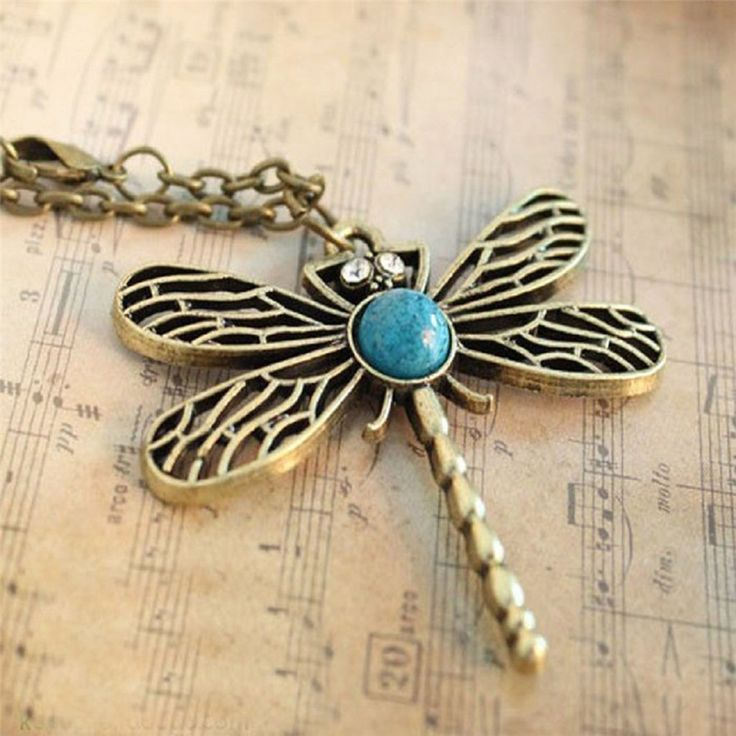 HOT Brand Fashion Woman Classic vintage Bronze dragonfly pendant necklace chain