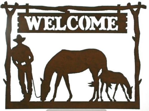 Rustic Metal Sign Western Decor   Cowboy Mare Foal Horse  Shop now on Amazon also