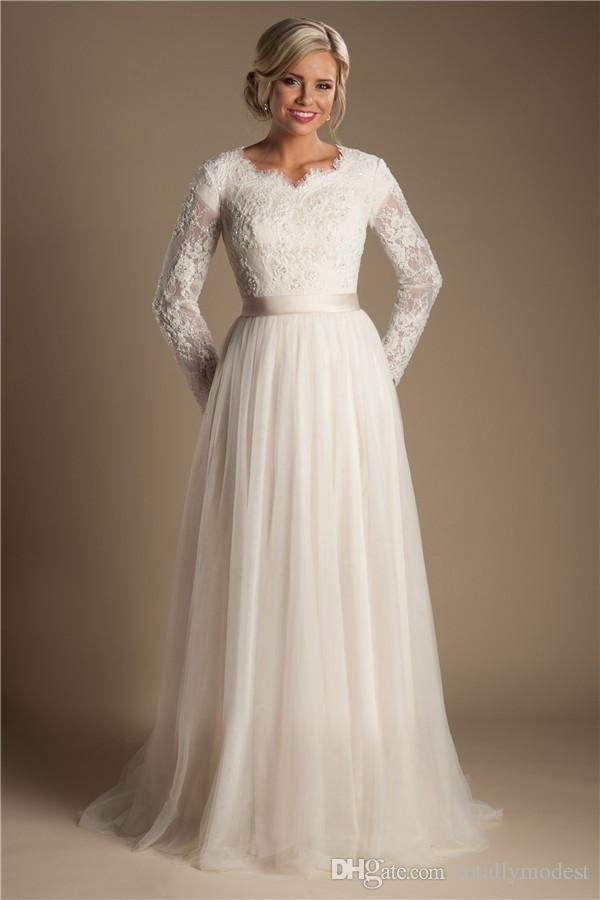 Discount Ivory A Line Beaded Lace Tulle Modest Wedding Dresses With Long Sleeves Scalloped Neck Buttons Up Back Full Sleeves Long Bridal Gowns Modest Wedding Dr Modest Bridal Gowns Modest Wedding