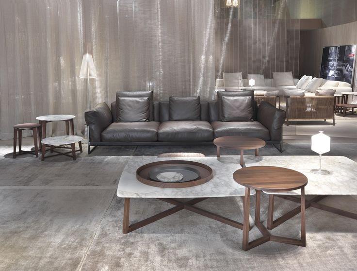 FLEXFORM stand at Salone del Mobile Milano 2016 | #FLEXFORM ZENO LIGHT #sofa GIPSY small #table #design Antonio Citterio