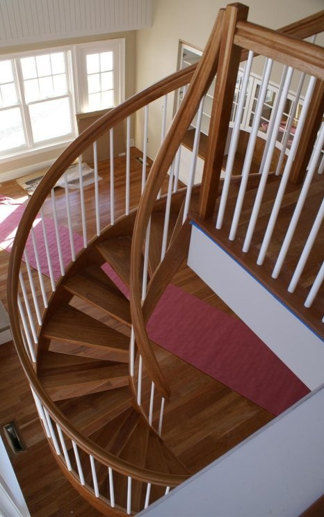 Cherry Wood With White Balusters Crisp Lines Unique Spiral Stairs