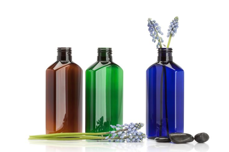 Amber, Green, Cobalt blue Plastic bottles and containers