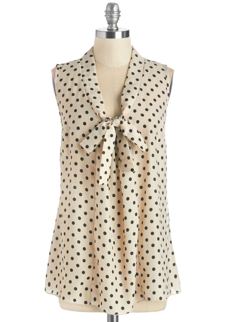 South Florida Spree Top in Dotted Ink. Take your wardrobe on a vivacious vacation with this eye-catching sleeveless top! #cream #modcloth