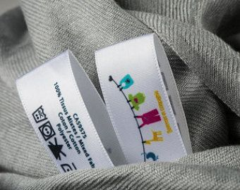 1000 Custom Printed Labels In Multicolor Full Color Satin Care Washable