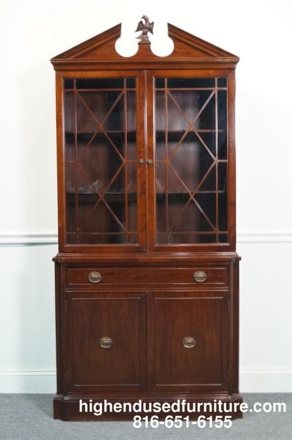 "RWAY Duncan Phyfe Mahogany 37"" Pediment Top China Cabinet"