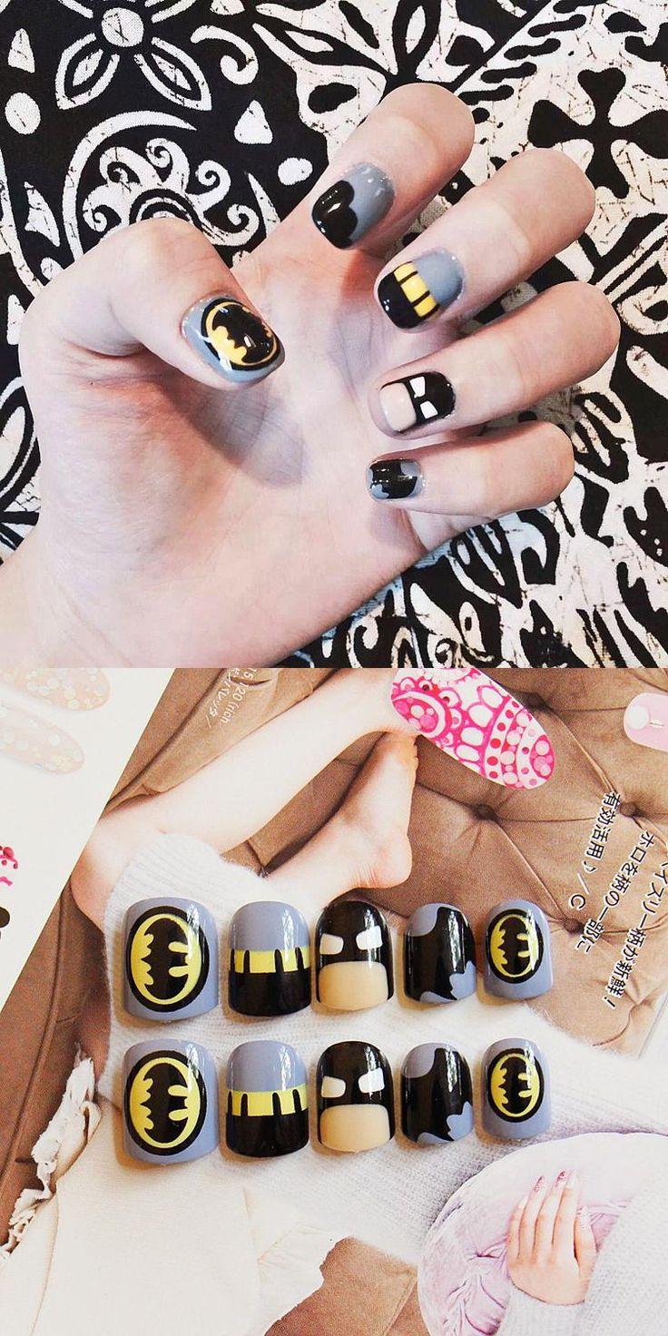 [Visit to Buy] New Arrival 24 pcs Bat Man Pattern Fake Nails Short Ova Black Grey Cartoon Nail Tips with Design in box for Christmas Gift #Advertisement