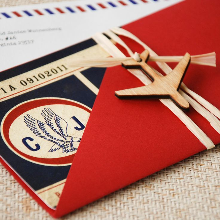 Vintage Air Mail Boarding Pass Invitation (Love is in the Air) - Design Fee. $45.00, via Etsy.
