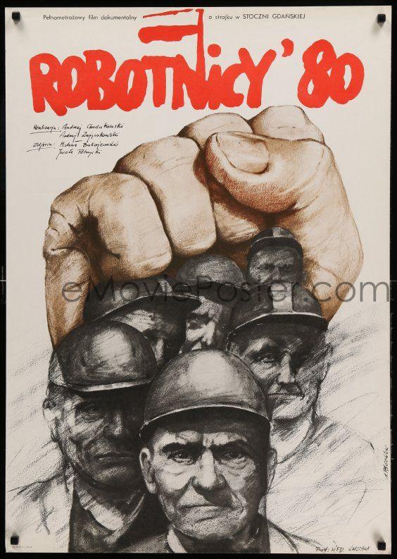 1 of 1 : 9b147 ROBOTNICY '80 Polish 27x38 '81 artwork of workers union members by Andrzej Pagowski!