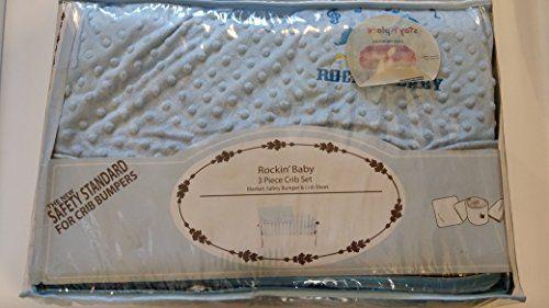 #Rockin Baby 3PC Safety Crib Set, Blanket, Safety Bumper And Crib Sheet