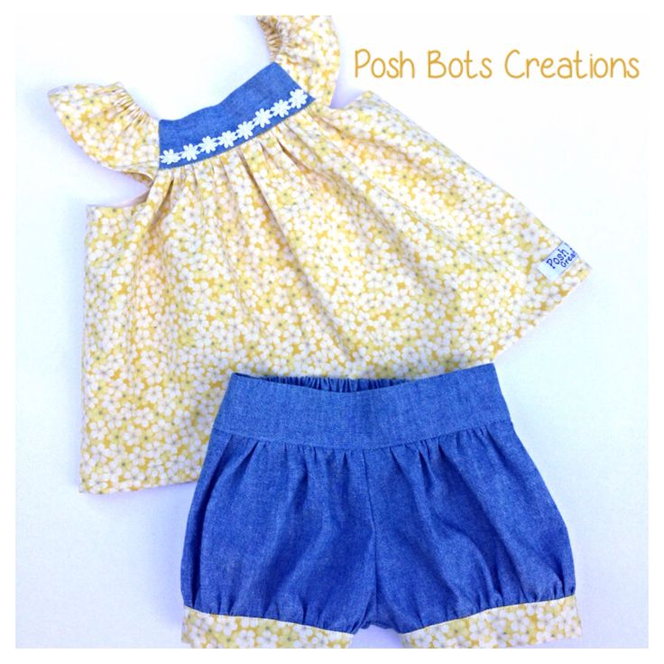 Spring time daisies & chambray swing top & bubble shorts set too cute!