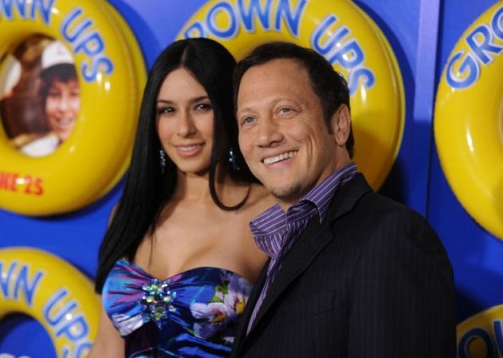 Rob Schneider and wife Patricia Azarcoya Arce (em)
