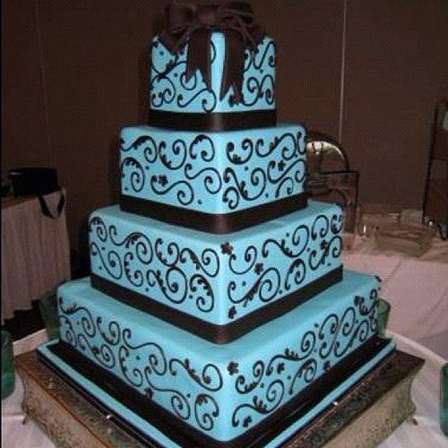 Intimateblue And Chocolate Brown Wedding Amazing Blue Cake Eavig