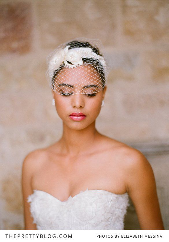 Short-haired brides still get to play with hair accessories. www.sohairobsessed.com