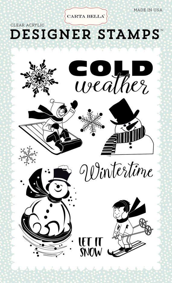 Carta Bella Snow Fun Collection Wintertime Clear Acrylic Designer Stamps